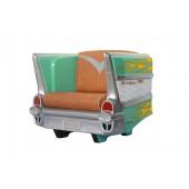 Sitz Chevy Grün mit orangenen Flammen und braunem Polster