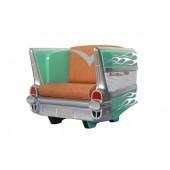Sitz Chevy Grün mit weißen Flammen und braunem Polster