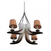 Stierhorn Kronleuchter mit 4 Lichtern und Lampenschirmen