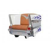 Sitz Chevy Weiß mit blauen Flammen und braunem Polster