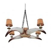 Stierhorn Kronleuchter mit 4 Lichtern und Lampenschirmen Variant