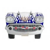 Sitzbank Chevy Weiß mit blauen Flammen und schwarzem Polster