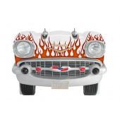 Sitzbank Chevy Weiß mit roten Flammen und schwarzem Polster