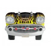 Sitzbank Chevy Schwarz mit gelben Flammen und schwarzem Polster
