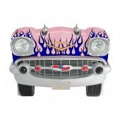 Sitzbank Chevy Rosa mit blauen Flammen und schwarzem Polster