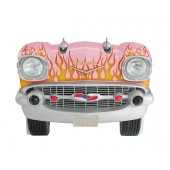 Sitzbank Chevy Rosa mit orangenen Flammen und schwarzem Polster