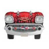 Sitzbank Chevy Rot mit schwarzen Flammen und schwarzem Polster
