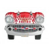 Sitzbank Chevy Rot mit weißen Flammen und schwarzem Polster