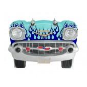 Sitzbank Chevy Hellblau mit blauen Flammen und schwarzem Polster
