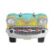 Sitzbank Chevy Hellblau mit gelben Flammen und schwarzem Polster