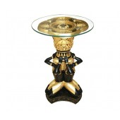 ägyptischer Pharao Tisch Schwarz Gold mit Glasplatte