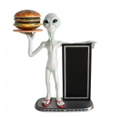 Alien mit Burger auf Tablett und Angebotstafel 1