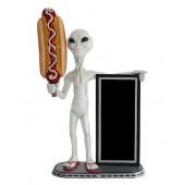 Alien mit Hotdog und Angebotstafel
