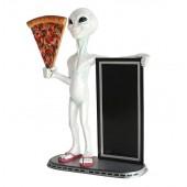 Alien mit Pizzastück und Angebotstafel