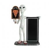 Alien mit Pizza auf Tafel und Angebotstafel