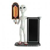 Alien mit Donut auf Tafel und Angebotstafel