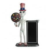 Alien amerika mit Keks dunkel und Angebotstafel