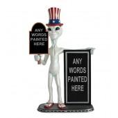 Alien amerika mit kleiner und großer Angebotstafel