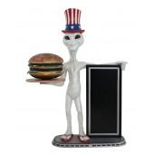 Alien amerika mit Burger auf Tablett und Angebotstafel 2