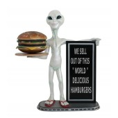 Alien mit Burger auf Tablett und Angebotstafel 2