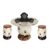 Affe im Ei Tisch und Eihocker