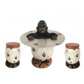 Mürrischer Gorilla im Ei Tisch und Eihocker