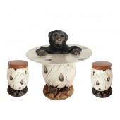 Affe 2 im Ei Tisch und Eihocker