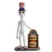 Alien amerika mit 2 Burgern auf Angebotstafel