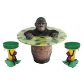 Gorilla Fasstisch und Bananenhocker