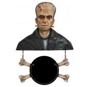Monster Frankenstein Büste mit Angebotsschild Knochen