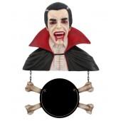 Dracula Büste mit Angebotsschild Knochen