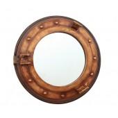 Bullauge Spiegel mit Regal braun