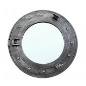 Bullauge Spiegel mit Regal silber