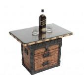 Truhe Tisch mit Holz und Glasplatte und Schubladen