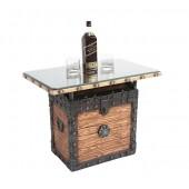 Schatztruhe Tisch hell mit Holz und Glasplatte