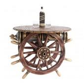Schiffssteuer und Kanone Tisch mit Holz und Glasplatte