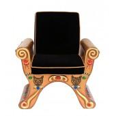 ägyptischer Sitz Gold mit schwarzem Polster