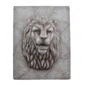 Grauer Löwenkopf auf für Wand mit Fontänenoption