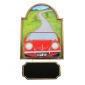 Bild mit VW Rot und Angebotsschild