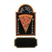 Pizzastück auf Angebotstafel mit Angebotsschild