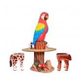Papagei Tisch und 2 Tierhocker