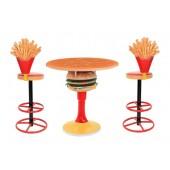 Burgertisch auf Ständer und Pommes Barhocker