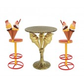 Eistüten Tisch auf Ständer Gold und Eistüten Barhocker