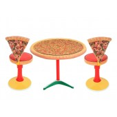 Pizzatisch auf großem Ständer mit Glasplatte und Pizzastühle