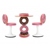 Donuttisch mit Donutstühlen Rosa