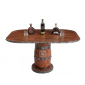 Weinfasstisch mit Holzplatte