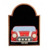 Angebotstafel mit Mini Cooper Rot