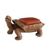 Schildkröte Gold Hocker mit braunem Polster