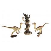 Dinosaurier Raptors greifen Python auf Baum an
