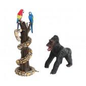 Papageien mit Python Angriffshaltung auf Baum und Gorilla